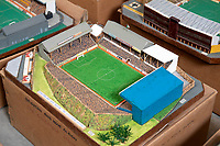 BNPS.co.uk (01202 558833)<br /> Pic: Zachary Culpin/BNPS<br /> <br /> Pictured: Brighton and Hove Albums old Goldstone Ground<br /> <br /> An incredible collection of model football stadiums handmade by a soccer fan have sold for almost £19,000 after being found in a storage unit.<br /> <br /> Model-maker John Le Maitre created miniature versions of all 92 English Football League club grounds from the 1980s, as well as the old Wembley Stadium.<br /> <br /> They featured on a Blue Peter episode that year and are a throwback to a bygone age when football grounds with their banks of terraces looked very different to today's super stadiums.