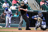 Home plate umpire Bryan Fields calls a strike during the game between  the Iowa Cubs and New Orleans Zephyrs  at Principal Park on April 13, 2016 in Des Moines, Iowa.  The Cubs won 9-5 .  (Dennis Hubbard/Four Seam Images)