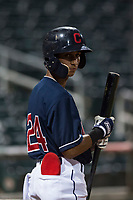 AZL Indians 2 shortstop Brayan Rocchio (24) stands on deck during an Arizona League game against the AZL Dodgers at Goodyear Ballpark on July 12, 2018 in Goodyear, Arizona. The AZL Indians 2 defeated the AZL Dodgers 2-1. (Zachary Lucy/Four Seam Images)