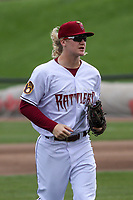 Wisconsin Timber Rattlers outfielder Joey Wiemer (18) jogs in from the outfield between innings during a game against the Cedar Rapids Kernels on September 8, 2021 at Neuroscience Group Field at Fox Cities Stadium in Grand Chute, Wisconsin.  (Brad Krause/Four Seam Images)