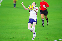 ORLANDO, FL - JANUARY 18: Rose Lavelle #15 of the USWNT traps the ball during a game between Colombia and USWNT at Exploria Stadium on January 18, 2021 in Orlando, Florida.