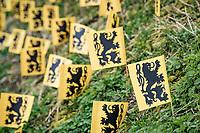 flemish lion flag along the course<br /> <br /> 105th Ronde van Vlaanderen 2021 (MEN1.UWT)<br /> <br /> 1 day race from Antwerp to Oudenaarde (BEL/264km) <br /> <br /> ©kramon