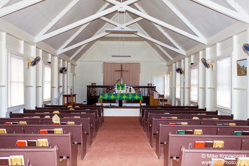 Inside of Kalaiakamanu Hou Congregational Church, Kaunakakai, Moloka'i