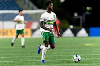 FOXBOROUGH, MA - AUGUST 26: Omar Mohamed #18 of Greenville Triumph SC looks to pass during a game between Greenville Triumph SC and New England Revolution II at Gillette Stadium on August 26, 2020 in Foxborough, Massachusetts.