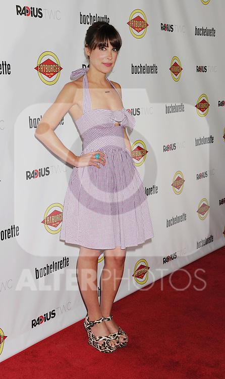 HOLLYWOOD, CA - AUGUST 23: Lindsay Sloane arrives at the Los Angeles premiere of 'Bachelorette' at the Arclight Hollywood on August 23, 2012 in Hollywood, California. /NortePhoto.com.... **CREDITO*OBLIGATORIO** *No*Venta*A*Terceros*..*No*Sale*So*third* ***No*Se*Permite*Hacer Archivo***No*Sale*So*third*