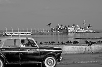 A Mumbai Taxi at the Mumbai Bay area with the Mosque behind. Notice the ever so present Crows the scavengers of Mumbai