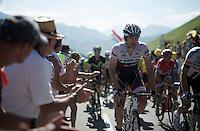 Fabian Cancellara (SUI/Trek-Segafredo) crossing the last mountain of the day; the Col de Peyresourde (Cat1/1569m/7.1km at 7.8%)<br /> <br /> stage 8: Pau - Bagnères-de-Luchon, 184km<br /> 103rd Tour de France 2016