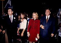 FILE -  Lucien Bouchard, Son epouse Audrey Best, Lisette Lapointe, Jacques Parizeau lorsque<br /> <br /> Les partisans du OUI  tiennent un grand rassemblement a l'auditorium de Verdun (date exacte inconnue)<br /> <br /> PHOTO : Agence Quebec Presse