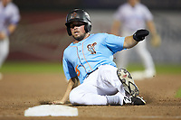 Troy Montgomery (5) of the Inland Empire 66ers slides into third base during the game against the Stockton Ports at San Manuel Stadium on July 6, 2017 in San Bernardino, California. The Ports defeated the 66ers 7-6.  (Brian Westerholt/Four Seam Images)