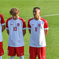 Tim Flick (10) of Luxemburg pictured with Thomas Souchard (11) of Luxemburg during a soccer game between the national teams Under17 Youth teams of  Norway and Luxemburg on day 2 in the Qualifying round in group 3 on saturday 9 th of October 2020  in Tubize , Belgium . PHOTO SPORTPIX   DAVID CATRY