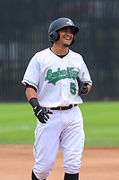 Clinton LumberKings third baseman Eugene Helder (5) during a Midwest League game against the Lansing Lugnuts on July 15, 2018 at Ashford University Field in Clinton, Iowa. Clinton defeated Lansing 6-2. (Brad Krause/Four Seam Images)