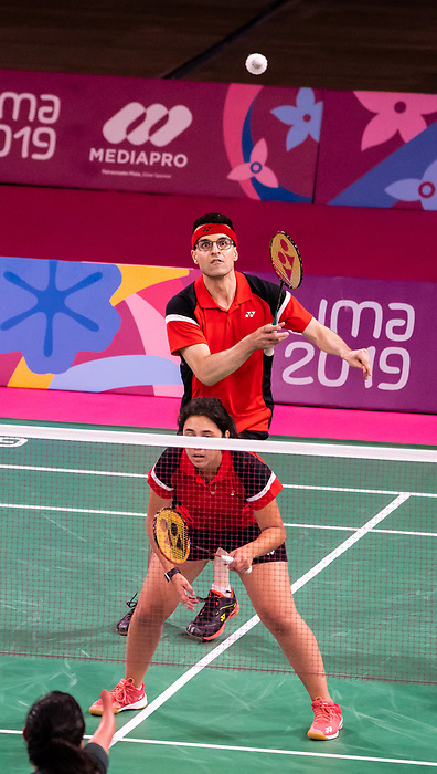 Olivia Meier and Pascal Lapointe, Lima 2019 - Para Badminton // Parabadminton.<br /> Olivia Meier and Pascal Lapointe compete in doubles // Olivia Meier and Pascal Lapointe participent au badminton double. 30/08/2019.