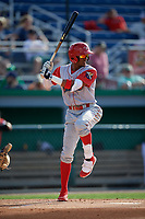 Williamsport Crosscutters Johan Rojas (13) at bat during a NY-Penn League game against the Batavia Muckdogs on August 25, 2019 at Dwyer Stadium in Batavia, New York.  Williamsport defeated Batavia 10-3.  (Mike Janes/Four Seam Images)