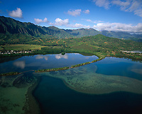 Heeia Fishpond, Aerial View, Kaneohe, Oahu, Hawaii, USA.