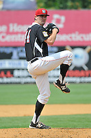 Jason Wheeler (44) of the New Britain Rock Cats pitches during a game against the Reading Fightin Phils at New Britain Stadium on July 13, 2014 in New Britain, Connecticut.  Reading defeated New Britain 6-4.   (Gregory Vasil/Four Seam Images)