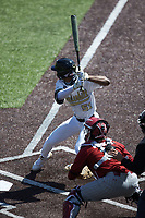 Enrique Bradfield Jr. (51) of the Vanderbilt Commodores at bat against the South Carolina Gamecocks at Hawkins Field on March 20, 2021 in Nashville, Tennessee. (Brian Westerholt/Four Seam Images)