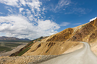 The Denali Park road traverses through Polychrome pass, Denali National Park, Interior, Alaska.
