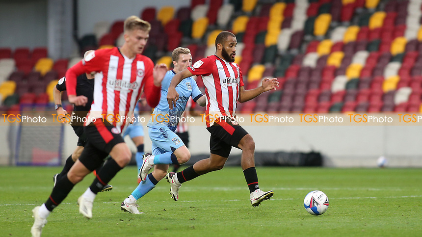 Bryan Mbeumo of Brentford races upfield during Brentford vs Coventry City, Sky Bet EFL Championship Football at the Brentford Community Stadium on 17th October 2020