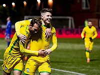 V5th April 2021; Palmerston Park, Dumfries, Scotland; Scottish Cup Third Round, Queen of the South versus Hibernian; Christian Doidge of Hibernian celebrates after scoring second goal with Kevin Nisbet of Hibernian for 0-2 in the 67th minute