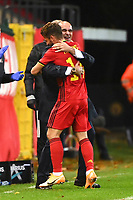 15th November 2020; Leuven, Belgium;  Dries Mertens forward of Belgium celebrates after scoring with Roberto Martinez head coach of Belgian Team during the UEFA Nations League match group stage final tournament - League A - Group 2 between Belgium and England