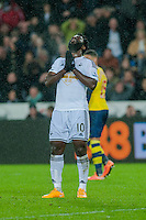 Sunday 9th November 2014<br /> Pictured: Wilfried Bony of Swansea City is frustrated at missing a shot at goal <br /> Re: Barclays Premier League Swansea City v Arsenal at the Liberty Stadium, Swansea, Wales,UK
