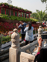Blumenschmuck am See Qian Hai, Peking, China, Asien<br /> Flower decoration at Qian Hai lake, Beijing, China, Asia