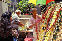 Lei stand on fort street mall on lei day
