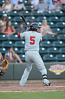 Deiner Lopez (5) of the Salem Red Sox at bat against the Winston-Salem Dash at BB&T Ballpark on June 16, 2016 in Winston-Salem, North Carolina.  The Dash defeated the Red Sox 7-1.  (Brian Westerholt/Four Seam Images)
