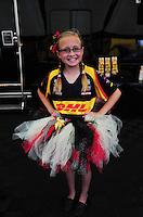 Apr. 29, 2012; Baytown, TX, USA: Jenna Arend ,  daughter of funny car driver Jeff Arend during the Spring Nationals at Royal Purple Raceway. Mandatory Credit: Mark J. Rebilas-
