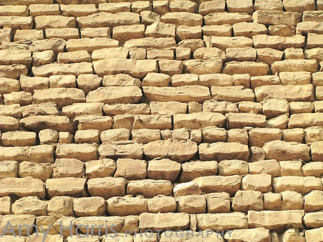 Close-up of blocks in the Step Pyramid of Kind Djoser at the Sakkara Necropolis near Cairo, Egypt.