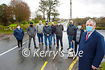 Residents of Tullig Cross on the Killorglin to Cromane highlighting the dangers of the junction and are seeking traffic calming measure to be put in place. Front right: Cllr Michael Cahill. Back l to r: Bridie O'Sullivan, Martin Riordan, Tom O'Sullivan, Michael Moriarty, Harry Carey, Pat Joe Riordan, Pat Donovan and Donal O'Sullivan.