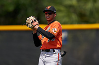 Baltimore Orioles outfielder Lamar Sparks (70) during a Minor League Spring Training game against the Tampa Bay Rays on April 23, 2021 at Charlotte Sports Park in Port Charlotte, Florida.  (Mike Janes/Four Seam Images)