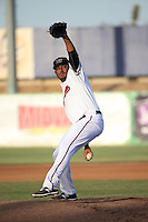 Adam Quintana (17) of the High Desert Mavericks pitches against the Modesto Nuts at Heritage Field on June 3, 2016 in Adelanto, California. Modesto defeated High Desert, 2-1. (Larry Goren/Four Seam Images)