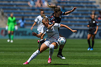 BRIDGEVIEW, IL - JUNE 5: Merritt Mathias #11 of the North Carolina Courage and Arin Wright #3 of the Chicago Red Stars battle for the ball during a game between North Carolina Courage and Chicago Red Stars at SeatGeek Stadium on June 5, 2021 in Bridgeview, Illinois.