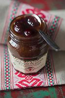 France, Aquitaine, Pyrénées-Atlantiques, Pays Basque, Itxassou: Confiture de Cerises Noires d' Itxassou   //  France, Pyrenees Atlantiques, Basque Country, Itxassou: Itxassou Black Cherry Jam