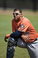 Houston Astros catcher Alfredo Gonzalez (59) before a minor league spring training game against the Detroit Tigers on March 21, 2014 at Osceola County Complex in Kissimmee, Florida.  (Mike Janes/Four Seam Images)