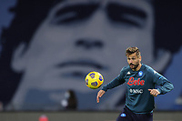 Fernando Llorente of SSC Napoli warms up with a giant picture of Diego Armando Maadona behind him prior to the Italy Cup football match between SSC Napoli and Empoli FC at stadio Diego Armando Maradona in Napoli (Italy), January 13, 2021. <br /> Photo Cesare Purini / Insidefoto