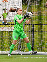 goalkeeper Josephine Delvaux (1) of KRC Genk makes a save during a female soccer game between Sporting Charleroi and KRC Genk on the 4 th matchday in play off 2 of the 2020 - 2021 season of Belgian Scooore Womens Super League , friday 30 th of April 2021  in Marcinelle , Belgium . PHOTO SPORTPIX.BE | SPP | Jill Delsaux