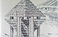 Paolo Soleri:  Hexahedron, Elevation.  Height 1100 M., Population 170,000.  Photo '77.