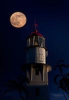 A super moon over Diamond Head Lighthouse on August 10, 2014, Honolulu, O'ahu.