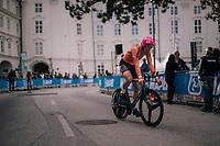 Julius Van Den Berg (NED)<br /> <br /> MEN UNDER 23 INDIVIDUAL TIME TRIAL<br /> Hall-Wattens to Innsbruck: 27.8 km<br /> <br /> UCI 2018 Road World Championships<br /> Innsbruck - Tirol / Austria