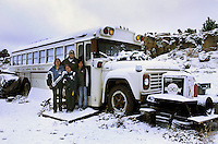 New Mexico, Navaho Indian Reservation. Family having to live on a bus with no running water or electricity.