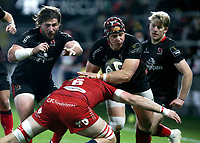 Sunday 22nd November 2020 | Ulster vs Scarlets<br /> <br /> Luke Marshall is tackled by Ed Kennedy during the Guinness PRO14 Round 7 clash between Ulster Rugby and Scarlets at Kingspan Stadium, Ravenhill Park, Belfast, Northern Ireland. Photo by John Dickson / Dicksondigital