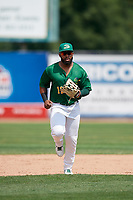 Beloit Snappers right fielder Logan Farrar (11) jogs back to the dugout during a game against the Dayton Dragons on July 22, 2018 at Pohlman Field in Beloit, Wisconsin.  Dayton defeated Beloit 2-1.  (Mike Janes/Four Seam Images)