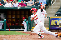 Jose Garcia (3) of the Springfield Cardinals follows through on his swing during a game against the Midland RockHounds on April 19, 2011 at Hammons Field in Springfield, Missouri.  Photo By David Welker/Four Seam Images