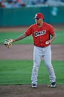 Anfernee Benitez (14) of the Orem Owlz delivers a pitch to the plate against the Ogden Raptors at Lindquist Field on June 19, 2018 in Ogden, Utah. The Raptors defeated the Owlz 7-2. (Stephen Smith/Four Seam Images)