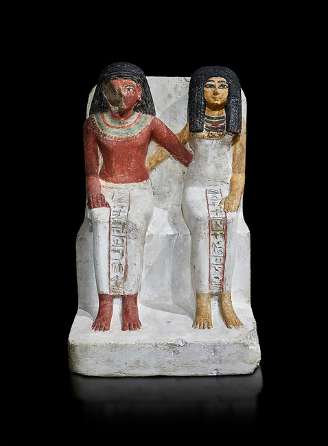 Ancient Egyptian statue of Amenmes and his wife Taka, New Kingdom, 18th Dynasty, (1480-1390 BC), Thebes Necropolis. Egyptian Museum, Turin. black background. Drovetti collection. Cat 3059