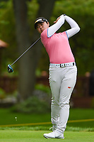 16th July 2021, Midland, MI, USA;  Yuka Saso (PHI) watches her tee shot on 2 during the Dow Great Lakes Bay Invitational Rd3 at Midland Country Club on July 16, 2021 in Midland, Michigan.