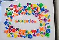 Word Inspiration in magnets on refrigerator