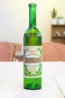 Bottle of Kantina e Veres Ballsh Riesling Hoso Ballsh. Tirana capital. Albania, Balkan, Europe.